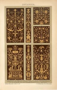 1895 ORNAMENTS INTARSIA ITALY FLORENCE PERUGIA Antique Lithograph Print