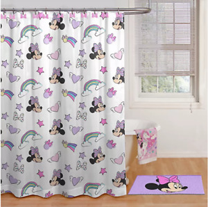 Disney Minnie Mouse Shower Curtain and Hook Set in Pink BRAND NEW FREE SHIPPING!