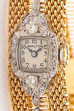 Antique 1940s 14k Yellow Gold Platinum 1ct VS H Diamond RIBBON Ladies Watch 51g