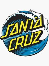 Santa Cruz Wave Novelty Sticker Graphic - Surf/California - Blue/Yellow