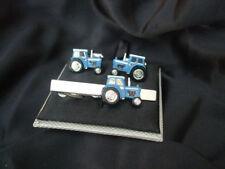 NOVELTY BLUE TRACTOR CUFFLINKS AND TIE BAR ~ CUFF LINK ~ 47