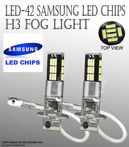 Samsung H3 LED 42 SMDs Canbus No Error Free DRL Super White Fog Light Bulbs G371