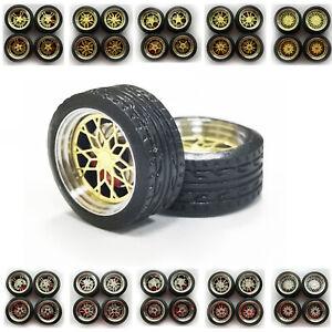 1/64 Scale Alloy Bigger Wheels Plus Brake Caliper Rubber Tires For Jeep SUV ORV