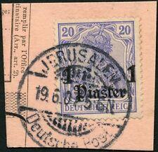 23/DP Türkei 1907 Germania 38 ° Jerusalem mit Stunde Briefstück Paketkarte