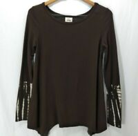Knox Rose Top Blouse Womens XS Knit Swing Long Sleeve A Line Scoop Neck Brown