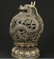 China copper brass carved dragon hollow out Incense burner censer Statue