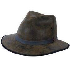 Karma Eureka Stockade Leather Fedora Hat  Olive Black Light Brown Distress Brown