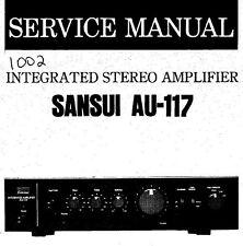Sansui AU-117 Stéréo intégrés service Amp Manuel Inc SCHEM diag Imprimé ENG