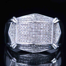 Solid 14K White Gold Over Brilliant Man Band Diamond Engagement Wedding Men Ring