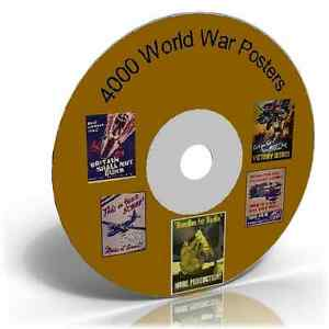4000 World War Poster Images on DVD, Historic picture collection CD