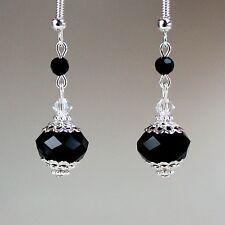 Black crystal vintage silver drop dangle earrings wedding bridesmaid gift