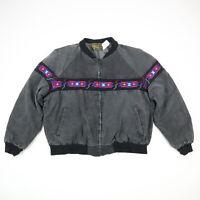 Vtg Aztec Navajo Blanket Lined Canvas Jacket Faded Black Distress Grunge USA XL