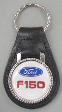 White Ford Oval F-150 Truck Black Leather USA Keyring 1999 2000 2001 2002