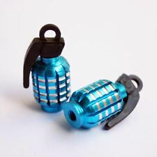 2 PCS Quality Blue Grenade-Shaped Anodized Metal Replacement Valve Stem Caps