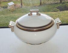 Antique Cauldon Laurel Enamelled Beads White Lidded Tureen c1910 Maples London