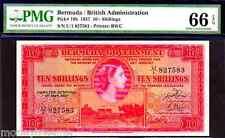 "BERMUDA P19b 1957 ""QUEEN ELIZABETH II"" 10/- SHILLINGS PMG 66EPQ!"