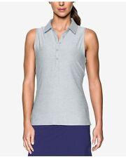 NWT UPF Under Armour Womens Zinger Sleeveless Gray Golf Polo Shirt sz M