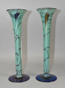 "Pair Fenton Off Hand Art Glass Vases 12"" Tall"