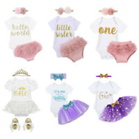 Newborn Baby Girl Tutu Dress Outfit 1st Birthday Cake Smash Party Romper Clothes
