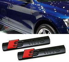 2x AUDI S-LINE Emblem Black Metal Badge For Front Grill A3 A4 S4 RS4 S3