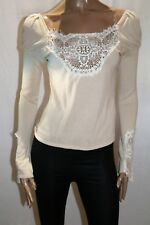 SEDUCE Brand Cream Linen Lace Long Sleeve Blouse Top Size 12 BNWT #TT96