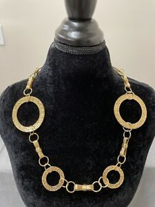 Tracy Porter Gold Tone Filigree Disc Drop Necklace Circles Bows FS Bnfts Charity