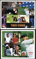 2 SOMALIA Stamps Postage Souvenir Sheets TIGER WOODS Golf Sport Topical MINT NH