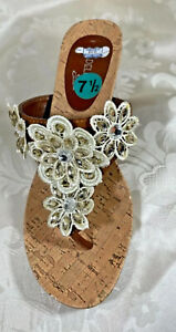 MADELINE STUART BROWN STRAPPY CRYSTAL FLOWERS MULES OPEN-BACK WEDGE SANDALS 7.5
