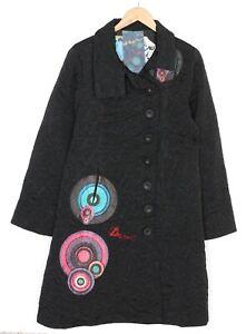 DESIGUAL 96E2905 Black Cotton Blend Coat Jacket Women Size 46 MJ2658
