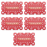 10 Ct Square Rectangular 32 Gram $100,000 Red Poker Plaques Square Chips