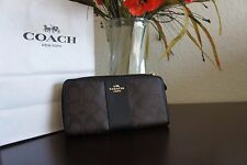 NWT Coach F54630 Signature Accordion Zip Around Wallet Brown Black