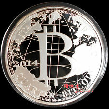 2014 year Silver Plated Bitcoin BTC 0.25 Physical Bit Coin souvenir Medal
