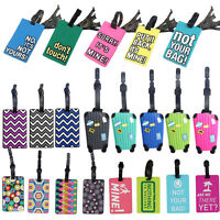 Suitcase Luggage Tags Name Address ID Address Holder Silicone Identifier Label U