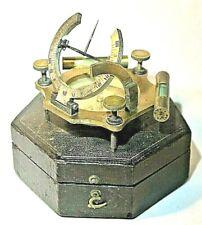 Antique English Brass Universal Equinoctial Dial Cased, 18th Century