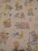 Vintage Baby child's Blanket with fabulous fairytale fabric cats cows mice