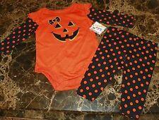 NEW Pumpkin HALLOWEEN ~ Infant CREEPER BODYSUIT & PANTS  Sz NB 3M Costume GLITTR