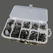 75PCS 8 Sizes Stainless Steel Fishing Rod Guide Tip Repair Kit Eye Ring Set #D
