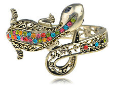 Multi-Colored Crystal Rhinestone Lizard Salamander Bracelet Bangle Cuff