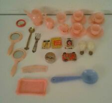 Doll Miniatures Tea Set with Tray, 2 Mirror, Comb,Serving Fork & Spoon, Toy Car