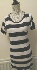 Denim & Co - Navy/White Striped Roll sleeved Cotton mini dress size 12