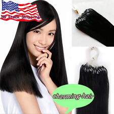100% INDIAN Remy Human Hair Extensions Micro Ring Beads Loop Tip Straight 7A US