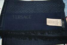 Gianni VERSACE SCARF Wrap - GREEK KEY MEDUSA - BLUE & Grey