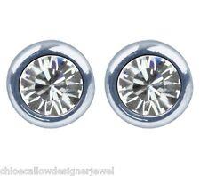 1x Pair of April Birthstone 4mm Crystal Gem Ear Studs Earrings + gift bag