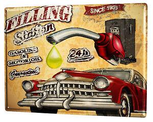 Tin Sign XXL Vintage Car  retro filling station