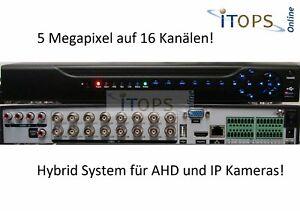 ITOPS Hybrid NVR DVR 5 MegaPixel AHD für 16 Überwachungskameras 16CH HighEnd NEU