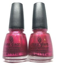 China Glaze Nail Polish Santa Red My List 1253 Micro Foil Berry Pink Lacquer