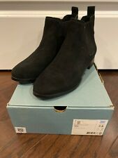 NEW Tom's ELLA BLACK SUEDE Women's Ankle Boots - SIZE 7.5 - Pull On Shoes - NIB
