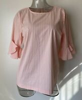 Calvin Klein Striped Bell Sleeve Top Blouse Size S, XL NWT$69 M9TAN629