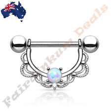 16G Surgical Steel Silver Ion Plated Opal Centered Filigree Drop Nipple Ring Bar