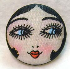 """1920s Flapper Girl Button Hand Printed Fabric """" Pink Cheeks """""""
